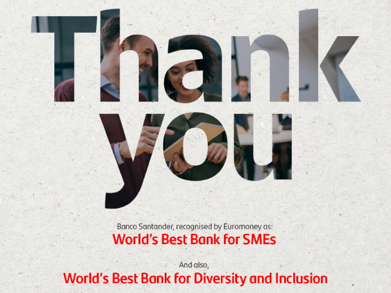 Santander è Best Bank for Diversity and Inclusion e Best Bank for SME's per Euromoney